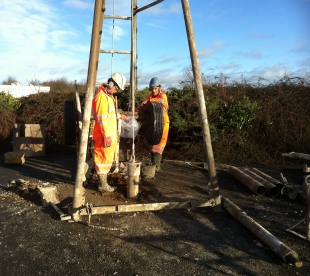 Contractors Prepare To Take A Ground Sample Where The Southern Bridge Abutment Will Be Built (c ) GCR 7th Jan 2014